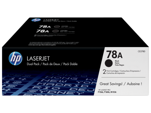 HP 78A Black Standard Capacity Toner Cartridge 2.1K pages Twinpack for HP LaserJet M1236/P1566/P1606 - CE278AD