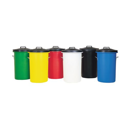 Heavy Duty Coloured Dustbin 85 Litre Black (2 handles on base and 1 on lid for easy handling) 311961 Dustbins SBY06631