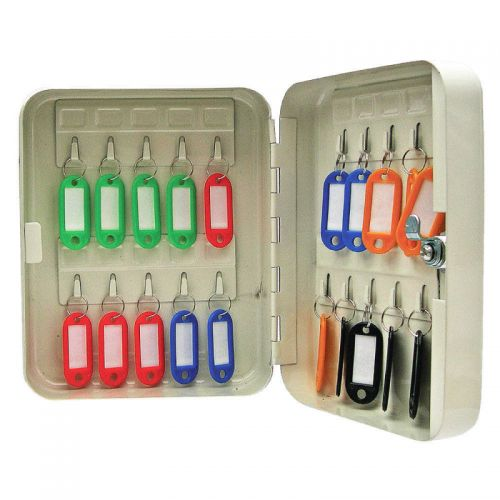 ValueX Key Cabinet Steel Grey Lock and Wall Fixings 20 Keys