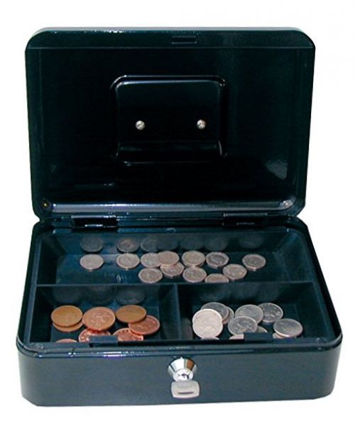 ValueX 25cm (10 Inch) Key Lock Metal Cash Box Black
