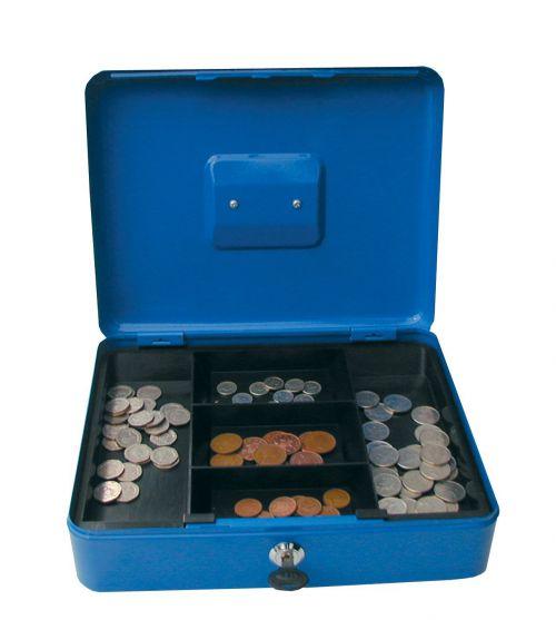 ValueX 25cm (10 Inch) key lock Metal Cash Box Blue