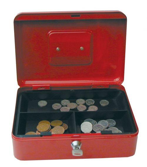 Metal Cash Box 12 inch Red