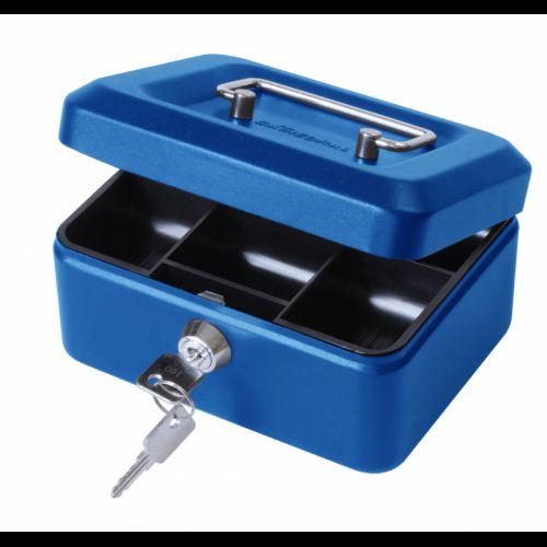 ValueX 15cm (6 inch) key lock Metal Cash Box Blue