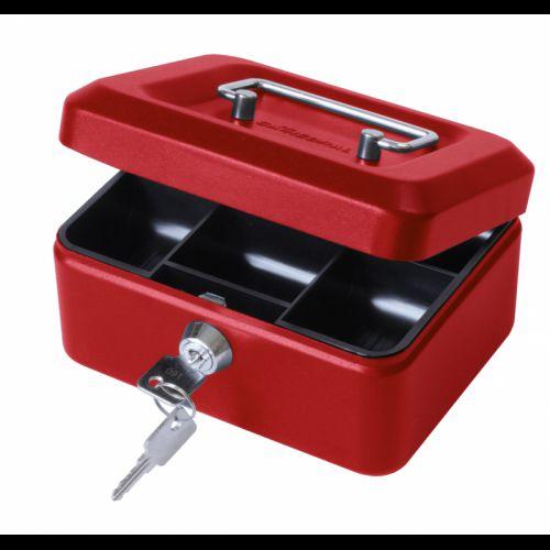 Metal Cash Box 6 inch Red