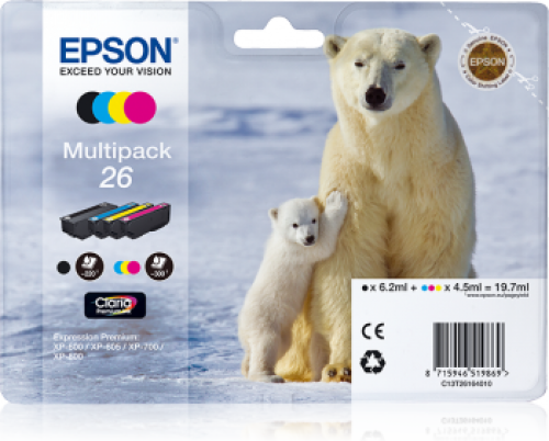 Epson C13T26164012 26 Black Colour Ink 6ml 3x4.5ml Multipack