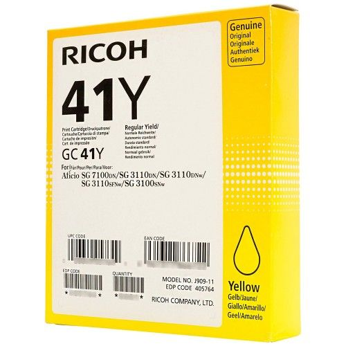 Ricoh GC41Y Yellow Gel Ink Cartridge Standard Capacity 2.2K - 405764