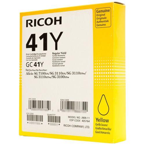 Ricoh GC41YL Yellow Gel Ink Cartridge Standard Capacity 600 - 405768