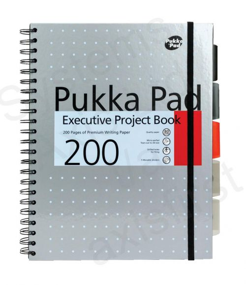 Pukka Pad Executive A4 Wirebound Hard Cover Project Book Ruled 200 Pages Metallic Assorted Colours (Pack 3)