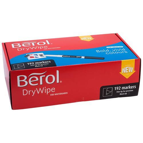 Berol Dry Wipe Whiteboard Marker Fine 1mm BK PK192