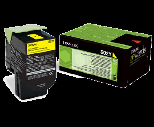 Lexmark 80C20Y0 802Y Yellow Toner 1K