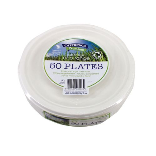 Caterpack Biodegradable Plates 9 Inch White (Pack 50)