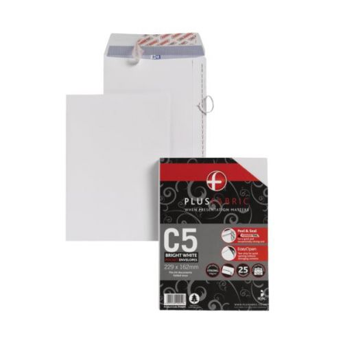 Plus Fabric C5 120 gsm Peel and Seal Envelope White PK25