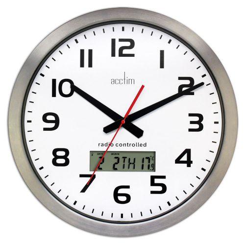 Acctim Meridian Radio Controlled Wall Clock Aluminium 74447