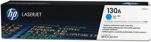 HP 130A Cyan Standard Capacity Toner Cartridge 1K pages for HP Color LaserJet Pro M176/M177 - CF351A