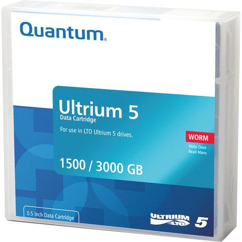 Quantum LTO-5 Ultrium Blank Data Cartridge 1.5TB Native / 3.0TB Compressed with Worm (Write Once Read Many) Technology