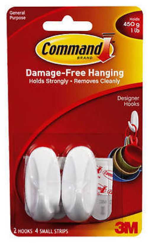 Command Oval Adhesive Designer Small Hooks White [2 Hooks and 4 Strips] 17082