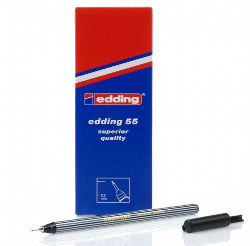 Edding 55 Fineliner Pen 0.3mm Line Black (Pack 10)