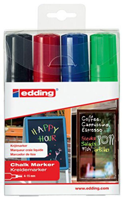 Edding 4090 Chalk Marker Chisel Tip 4-15mm Line Assorted Colours (Pack 4)