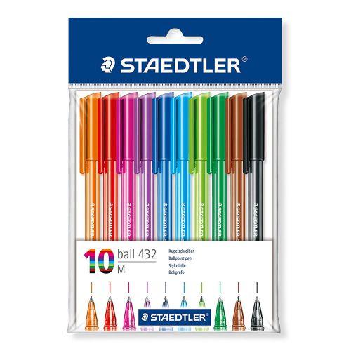 Staedtler Rainbow Ballpoint Pens Multicolour 0.5mm Line (Pack 10)