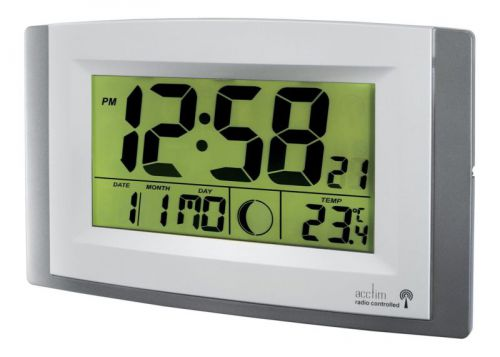 Acctim Stratus Radio Control LCD wall Clock Silver 74057SL