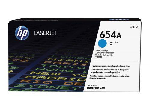 HP 654A Cyan Standard Capacity Toner Cartridge 15K pages for HP Color LaserJet Enterprise M651 - CF331A
