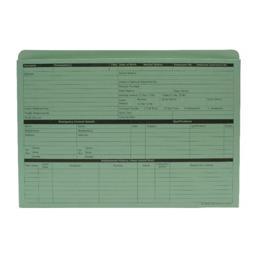 ValueX Pre-Printed Personnel Wallet Manilla 332x238mm 270gsm Green (Pack 50)