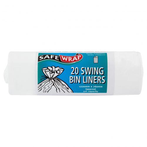 Safe Wrap Swing Bin Liners 20 Per Roll White 4 Packs Of 20