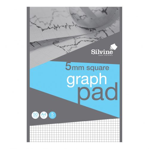 Silvine A4 Graph Pad 5mm Squares 50 Sheets 90gsm