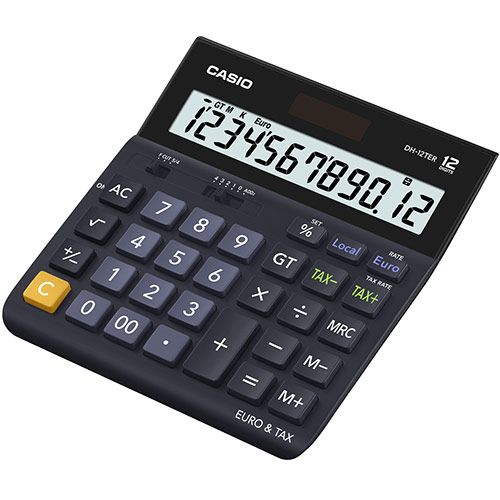 Casio DH-12TER 12 Digit Landscape Tax&Currency Calculator Black