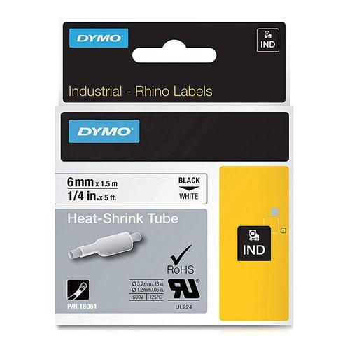 Dymo Rhino 6mm Black on White Heat Shrink Tube Tape S0718260 18051