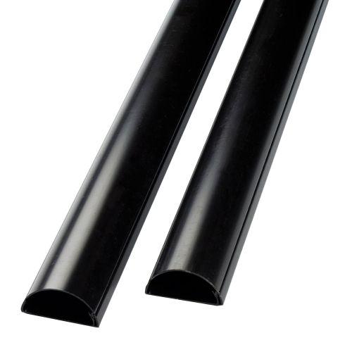 D-Line 1.5m Desk Trunking Cable Management 50x25mm Black ]Pack 2] 2D155025B