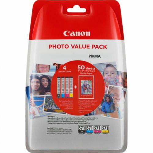 Canon 0386C006 CLI571 CMYK Photo Ink 4x7ml Multipack