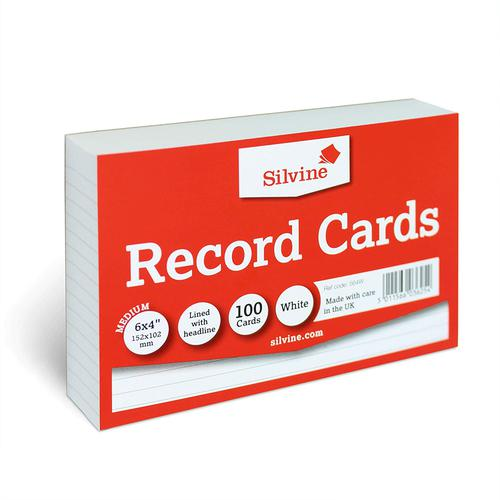 ValueX Record Cards 152 x 102mm 170g/m2 Feint Ruled Landscape White (Pack 100)