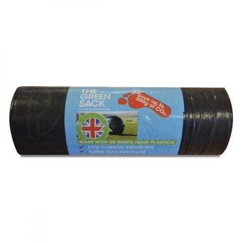 The Green Sack  Medium Duty Refuse Sack 70 Litre Black Roll 15 Sacks  0703125