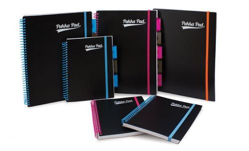 Pukka Pad Neon A5 Wirebound Polypropylene Cover Project Book Ruled 200 Pages Assorted Colours (Pack 3)