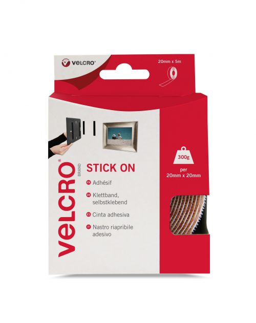 Velcro Sticky Hook and Loop Strip 20mmx5m White