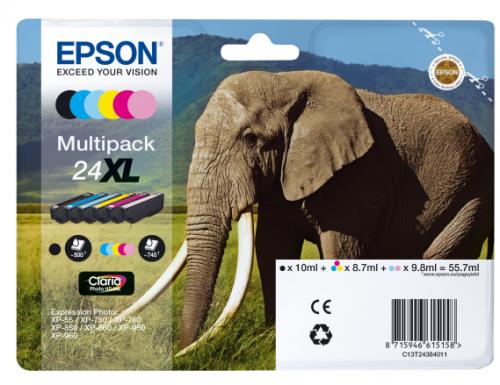 Epson C13T24384012 24XL Black Colour Ink 10ml 3x9ml 2x10ml