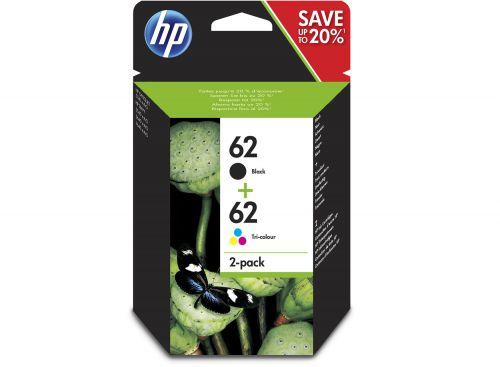 HP N9J71AE 62 Black Tricolour Ink 4ml 4.5ml Twinpack - N9J71AE