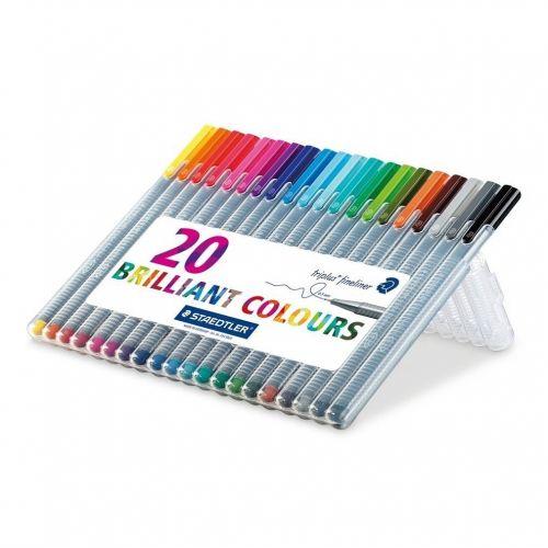Staedtler Triplus Fineliner Pen 0.8mm Tip 0.3mm Line Assorted Colours (Pack 20)