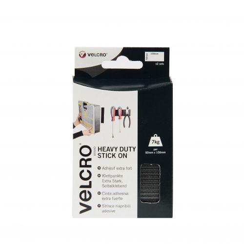 Velcro Sticky Hook and Loop Strip Heavy Duty 50x100mm Black 2 Sets