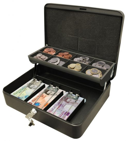 Cathedral Ultimate Cash Box 300mm (12 Inch) Key Lock Black