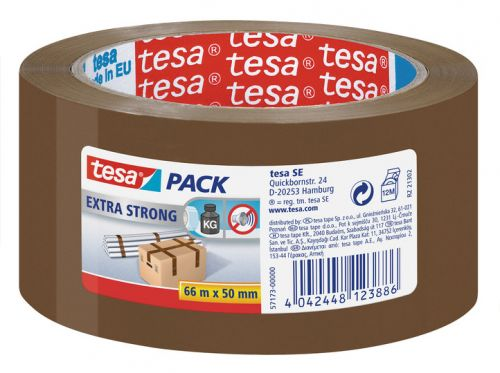 tesa Tesapack Extra Strong Packaging Tape PVC Buff 50x66mm 57173 [Pack 6]