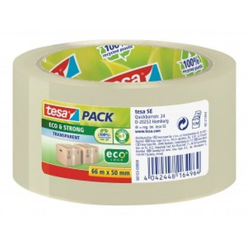 tesa tesapack Eco and Strong Recycled Packaging Tape Clear 50mm x66m [Pack 6]