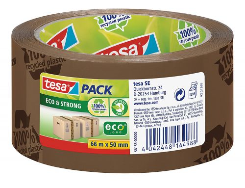 tesa Eco and Strong Recycled Printed Strong Packaging Tape 50mm x 66m Brown 58155 [Pack 6]