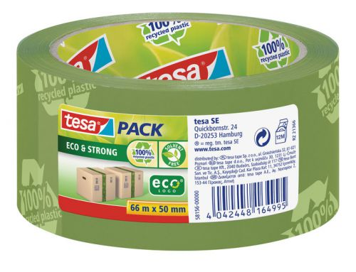 tesa tesapack Eco and Strong Recycled Printed Packaging Tape Green 50mm x66m [Pack 6]