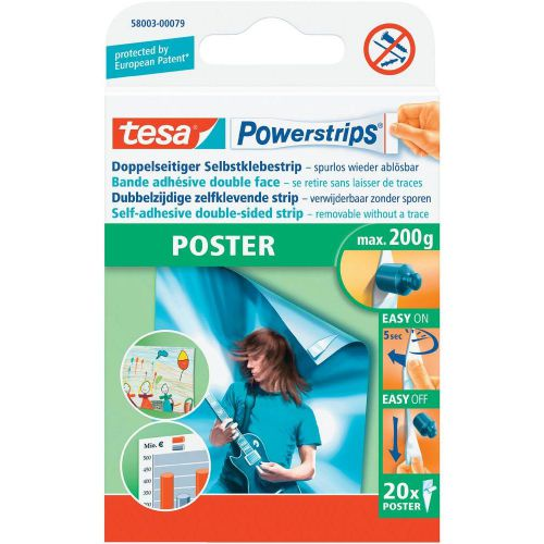 tesa Powerstrips Poster Removable Adhesive Strips for Poster Hanging 58003 [Pack 20]