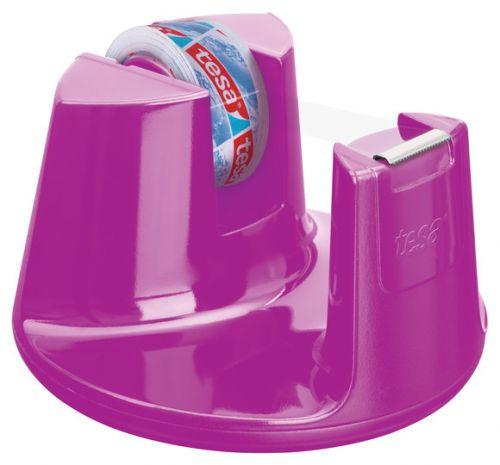 tesafilm Compact Desk Dispenser with Anti Slip Stop Pad Pink + 1 Roll tesa film 19x33mm 53823
