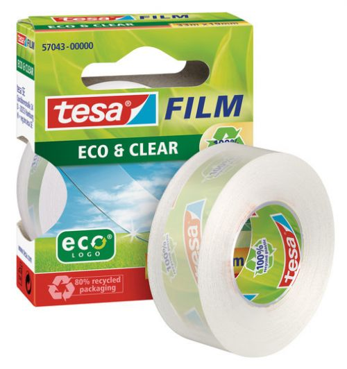 tesa Recycled and Eco Friendly Clear Adhesive Film Tape 19mm x33m [Box 8]