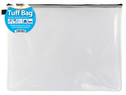Tiger Tuff Bag Polypropylene A3 500 Micron Clear with Assorted Colour Zips
