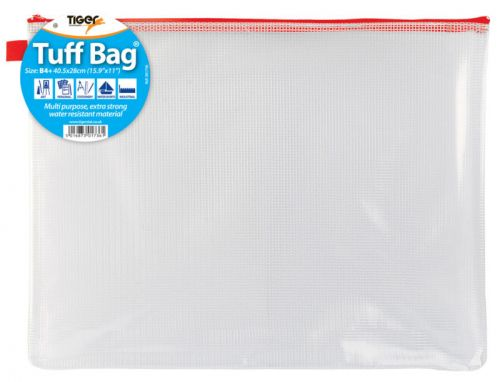 Tiger Tuff Bag Polypropylene B4 500 Micron Clear with Assorted Colour Zips